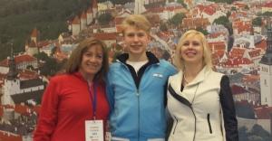 Denis with Team Leader Maria Dalorez Cazorla and coach Inga Zusev at Junior World Championships